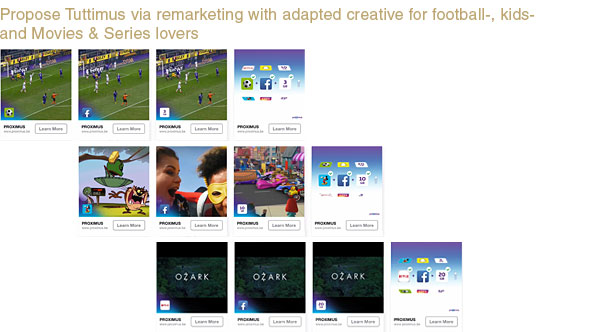 PROPOSITION: consumers received a Facebook carousel adapted to their passion: movies & series versus football versus kids