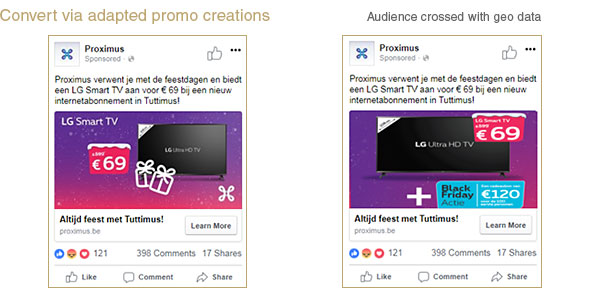 CONSUMPTION: an adapted promotion was launched to consumers living in Limburg and the mobile device promotion was creatively adapted to the device brand used