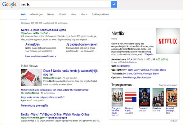 When searching for Netflix, they received Netflix or HLN links